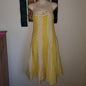 Free People Sz 8 Yellow Lace Up Back Boho Dress